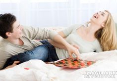 If I had a nickel for every time I have played checkers on the bed with my husband in this position, I would not have a lot of nickels.