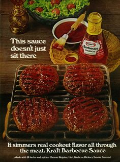 """Vintage 1970s magazine advertisement, Kraft Barbecue Sauce, 1971 Tagline: """"This sauce doesn't just sit there. It simmers real cookout flavor all through the meat. Kraft Barbecue Sauce."""" Published in Ebony magazine, July 1971, Vol. 26 No. 9 Fair use/no known copyright. If you use this photo, please provide attribution credit; not for commercial use (see Creative Commons license)."""