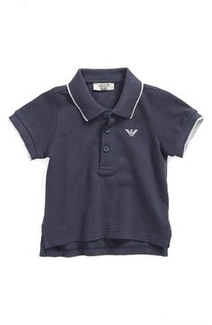 Armani Junior Stripe Tipped Piqué Polo (Baby Boys) available at #Nordstrom