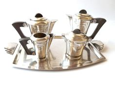 Silver plated Tea and Coffee Service on a tray .Art Deco .French vintage.Tea set .Coffee set.Mid Century on Etsy, $350.00