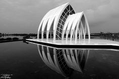 The smooth surface of the lake reflected the lights of the church ~ Crystal Church, Beimen District, Tainan City, Taiwan