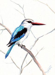Woodland Kingfisher Original watercolor painting by ORIGINALONLY, $24.00