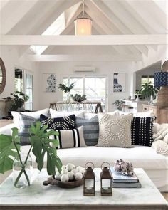 Cozy coastal cottage vibes in a beach inspired living room Source by playables Home Decor Coastal Living Rooms, Home Living Room, Living Room Designs, Coastal Cottage, Hamptons Living Room, Hamptons Beach Houses, Beach Living Room, Hamptons House, Hamptons Style Decor