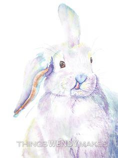 Items similar to Original Watercolor Bunny Painting on Etsy Watercolor Paper, Watercolor Paintings, Original Paintings, Bunny Painting, Creatures, Colorful, The Originals, Digital, Friends