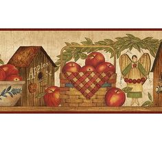 COUNTRY APPLES BASKETS WALLPAPER BORDER BY YORK A PrimLog