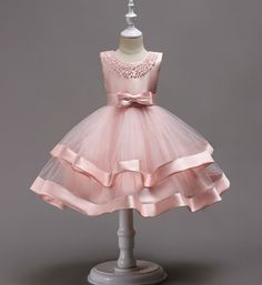 Beaded Tiered Dress-Beautiful & Cheap Round Neckline Sleeveless Knee Length Tiered Layered Infant Toddler Little & Big Girl Party Dress. Baby Girl Party Dresses, Girls Formal Dresses, Wedding Dresses For Girls, Little Girl Dresses, Elegant Dresses, Baby Dress, Flower Girl Dresses, Pink Dress, Dress Party