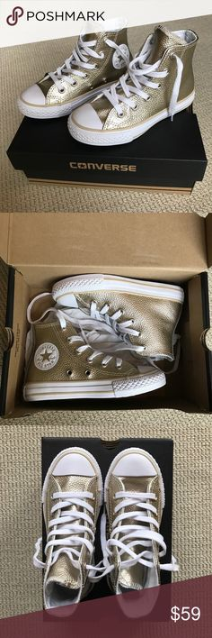 HPConverse All Star High Tops Stingray Gold 11 SOLD OUT! Girls Converse Chuck Taylor All Star High Tops Stingray Gold Metallic. Kids girls size 11. I think I purchased the last pair from Nordstrom :-) These are so cute! Converse Shoes