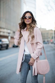 Pink Trench Coat. Topshop Pink Trench Coat. Zara Jeans. Free People Sunglasses. Christian Louboutin Heels. Vince Camuto Crossbody Bag.