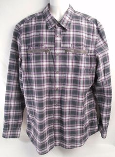 JOHN VARVATOS Shirt Mens USA Button Front Size XL Long Sleeve Cotton Plaid #JohnVarvatos #mensshirt #shirt