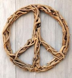Peace sign made out of Driftwood