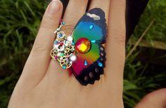 'Time magic' Rainbow watchgear Steampunk butterfly ring