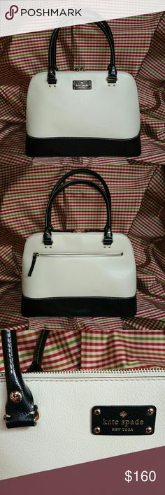 """KATE SPADE BERKELEY LANE RACHELLE PURSE AMAZING Kate Spade Berkeley Lane purse Excellent, unblemished condition. Used once at a wedding. Ivory with black trim 14k gold plated hardware  15"""" wide, 10.5"""" tall, and 8"""" drop. Absolute gorgeous bag!!! Comes with dust bag. kate spade Bags"""