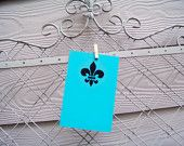 "Notecards with Hand Stenciled Fleur De Lis. Package of 8 Cards. Notecard Size: 5.125"" x 7"""