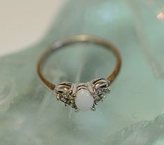 Vintage Sterling Silver 925 Opal Ring With 6 Accent Stones.. Size 7.25 (#16)