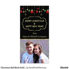 Wish a Merry Christmas to loved ones this holiday season with Christmas cards from Zazzle! Festive greeting cards, photo cards & more. Modern Christmas Cards, Merry Christmas And Happy New Year, Landscape Prints, Christmas Balls, Photo Cards, Black Gold, Envelope, The Creator, Templates