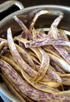 Colorful, beautiful, and so tasty -- this Dragon Tongue Bean Salad is drizzled with a spicy honey-mustard dressing and is the perfect summer side dish for barbecues or a vegan main course. Dragon beans are unique and fun to work with. Side Recipes, Healthy Dinner Recipes, Vegetarian Recipes, Cooking Recipes, Dragon Tongue Beans, Vegan Main Course, Bean Salad Recipes, Spicy Honey, Veggie Side Dishes