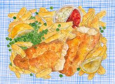 Fish and chips illustration by Dawn Tan.