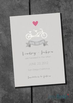 Save the Date or Couple Shower Bicycle Built, Tandem Bike for Two Printable Invitation by ItsyBelle