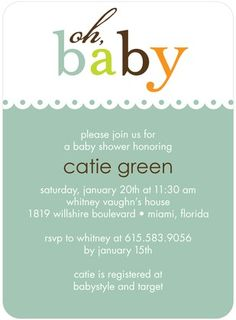 Baby Charm - Baby Shower Invitations - Ann Kelle - Basil - Green : Front
