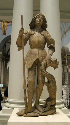 George and the dragon, Victoria & Albert Museum. Patron Saint Of England, Saint George And The Dragon, Saint Georges, Armadura Medieval, Dragon Slayer, European Paintings, Effigy, Patron Saints, Medieval Art