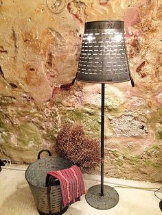 Rustic decorative lamp lighting floor lamp,Metal Olive Bucket Industrial Lighting Lamp,Basket lighting,recycled lighting by Eskiden on Etsy