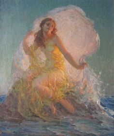 The Spindrift, 1935 by Arthur Prince Spear (American artist known for his imaginary paintings of nymphs, fauns and under-sea dwellers of an imaginary world of a very personal nature, Renaissance Paintings, Renaissance Art, Illustrations, Illustration Art, Mermaid Art, Fairy Art, Pretty Art, Aesthetic Art, Oeuvre D'art