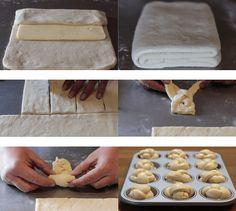 CRUFFIN (mi-CROISSANT, mi MUFFIN) : la recette complète - CULTURE CRUNCH Croissant Dough, Crunch, Complete Recipe, Breakfast Dessert, Croissants, Flan, Muffins, Cheese, Cookies