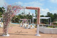 Contact us For Decorating Your Across South India. Naming Ceremony Decoration, Ceremony Decorations, Flower Decorations, Palms Hotel, Hotel Spa, Palm Resort, Best Wedding Venues, Green Lawn, Outdoor Wedding Venues