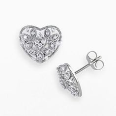 Miadora 14k White Gold 1/4-ct. T.W. Round-Cut Diamond Heart Stud Earrings