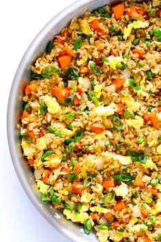 The BEST fried rice recipe!! It only takes 15 minutes to make, it's easy to customize with your favorite add-ins (like chicken, pork, beef, shrimp, tofu, and/or vegetables), and it is SO flavorful and delicious! Way better than any Chinese takeout I've ever tried. ;) | gimmesomeoven.com