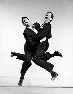 "Dean Martin and Jerry Lewis jumping for Philippe Halsman in 1951 ""Starting in the early 1950s I asked every famous or important person I photographed to jump for me. I was motivated by a genuine..."