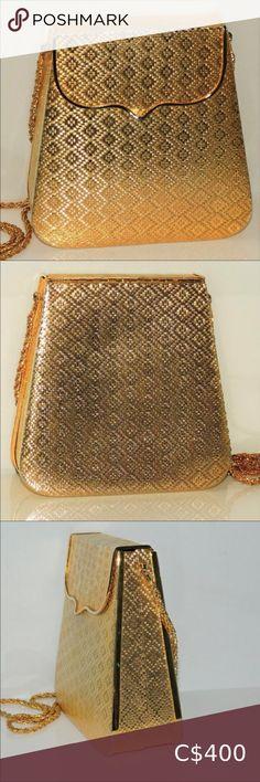 Saks of Fifth Avenue Bag Gold Metal SOLD Vintage gold toned purse gold leafed purse Saks Fifth Avenue Bags Shoulder Bags Pink Leather, Vintage Leather, Jimmy Choo Sunglasses, Purple Handbags, Chain Shoulder Bag, Shoulder Bags, Metallic Bag, Leather Chain, Diamond Pattern