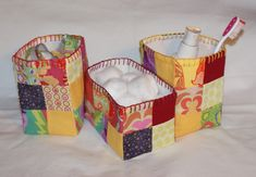 patchwork fabric boxes