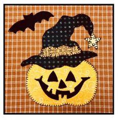 Jack-O-Lantern PDF pattern for a cute pumpkin applique for Halloween from Quilt Doodle Designs Halloween Sewing, Fall Sewing, Halloween Projects, Halloween Applique Designs, Halloween Quilt Patterns, Halloween Pillows, Halloween Quilts, Halloween Blocks, Applique Pillows