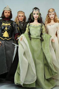 LORD OF THE RINGS BARBIE DOLLS~ ARWEN, ARAGON, GALADRIEL & LEGOLAS~NRFB~MINT~HTF #Dolls