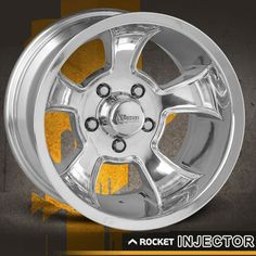 Rocket Injector Polished - rims with muscle! Wheels And Tires, Car Wheels, Modern Muscle Cars, Air Shocks, Traditional Hot Rod, Aftermarket Wheels, Racing Wheel, Chrome Wheels, Rolling Stock