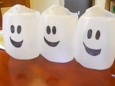 Ghost Catchers out of milk jugs.  Great rainy day activity for preschoolers and toddlers. - Three Ghost Friends