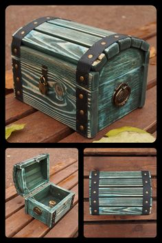 beauty Box wood - wooden storage chest, Blue wood storage box, Treasure chest with padlock Wood Storage Box, Storage Chest, Storage Bins, Wood Chest, Blue Wood, Kids Wood, Treasure Chest, Wood Boxes, Wood Crafts