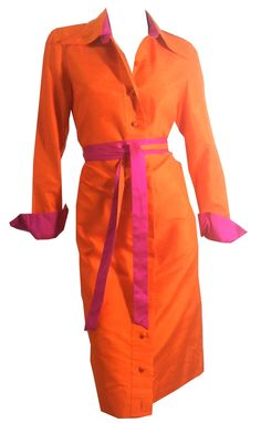 Monk's Robe Orange and Shocking Pink Thai Silk Shirt Dress circa 1960s Elizabeth Arden