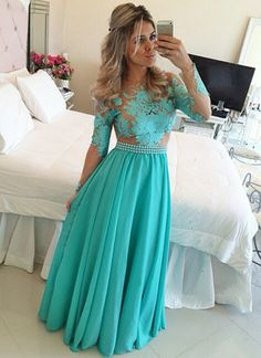 Long Sleeve Prom Dress 2016 Turquoise Chiffon Nude Tulle Appliques A line Evening Dress Floor Length vestidos de festa