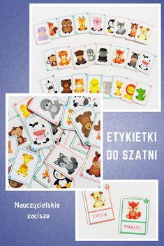 Znaczki do szatni, na szafki, krzesełka w kilku wersjach. Zalaminowane, wielokrotnego użytku.  25 sztuk samych zwierzątek lub zwierzątek z miejscem na imię dziecka. Kliknij w pina i przejdź do Allegro, gdzie możesz zakupić te i inne pomoce dydaktyczne od Nauczycielskiego zacisza #znaczkidoszatni #przedszkole #etykietkidoszatni #szkoła #dzieci #kids #preschoollabels #namecards #forkids #kindergarten Preschool, Children Garden, Preschools, Early Elementary Resources, Kindergarten, Kindergartens, Kindergarten Center Organization