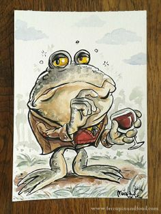 Terrapin and Toad: Sketchbook doodles - Toad drinking wine. #terrapinandtoad
