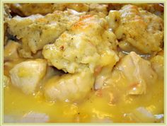3 c. cooked chicken, cut into large pieces  ½ c. butter  1/3 c. flour  ½ tsp salt  1/8 tsp pepper  3 c. chicken broth  1 can cr...
