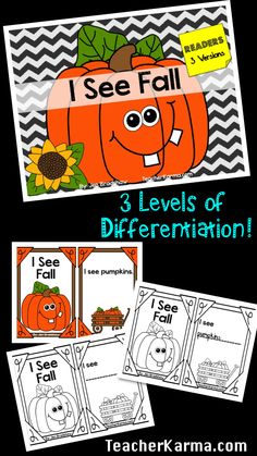 FREEBIE!  Readers for elementary classrooms:  I See Fall. 3 levels of differentiation for different kinds of learners. TeacherKarma.com