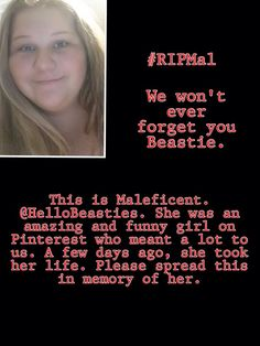 Please repin ❤️ I'm SOOOOO very sorry for your loss. May she now be at peace. My son took his life March 18, 2013. I will pray for her family, suicide is the hardest way to lose a child. My heart is crying ... :( ...  kd