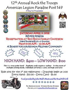 Las Vegas, NV - Apr. 2, 2016: Rock the Troops XII motorcycle Poker Run. Raising money for our local military community.