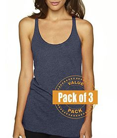 Next Level Womens Tri-Blend Racerback Tank Top 6733-Indigo-X-Large (3 Pack