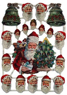 Victorian Santa scraps from Germany for DIY Christmas projects: