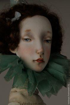 """Купить Авторская кукла """"Августина"""" - белый, сливочный, голубой, небесно-голубой, кукла, авторская кукла  136 344.96 руб"""