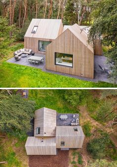Surrounded by pine trees, the wood clad house named 'Villa Tonden', is composed of three archetypical house shaped volumes. #ModernArchitecture #HouseDesign #VillaDesign #WoodSiding Villa Design, Cabins In The Woods, House In The Woods, House Names, Roof Structure, Modern Architecture, Sustainable Architecture, Residential Architecture, Cabana